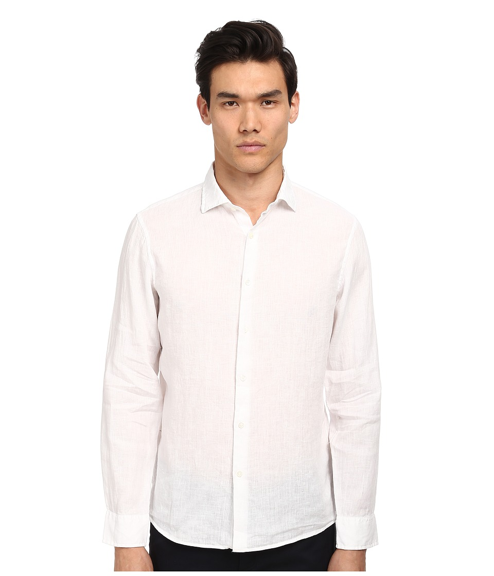 Michael Kors - Tailored Garment Dye Linen Shirt (White) Men's Clothing
