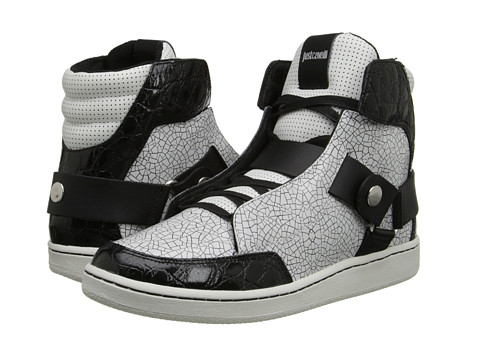 Just Cavalli - Cracked and Croco Embossed High Top (White) Men's Shoes