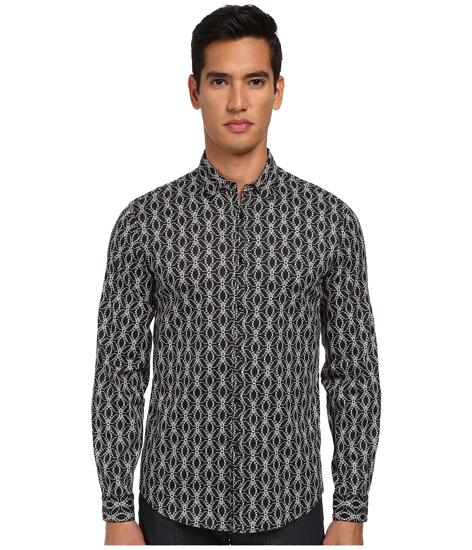 Just Cavalli - African Rhapsody Print Cotton Stretch Shirt Button Up (Black) Men