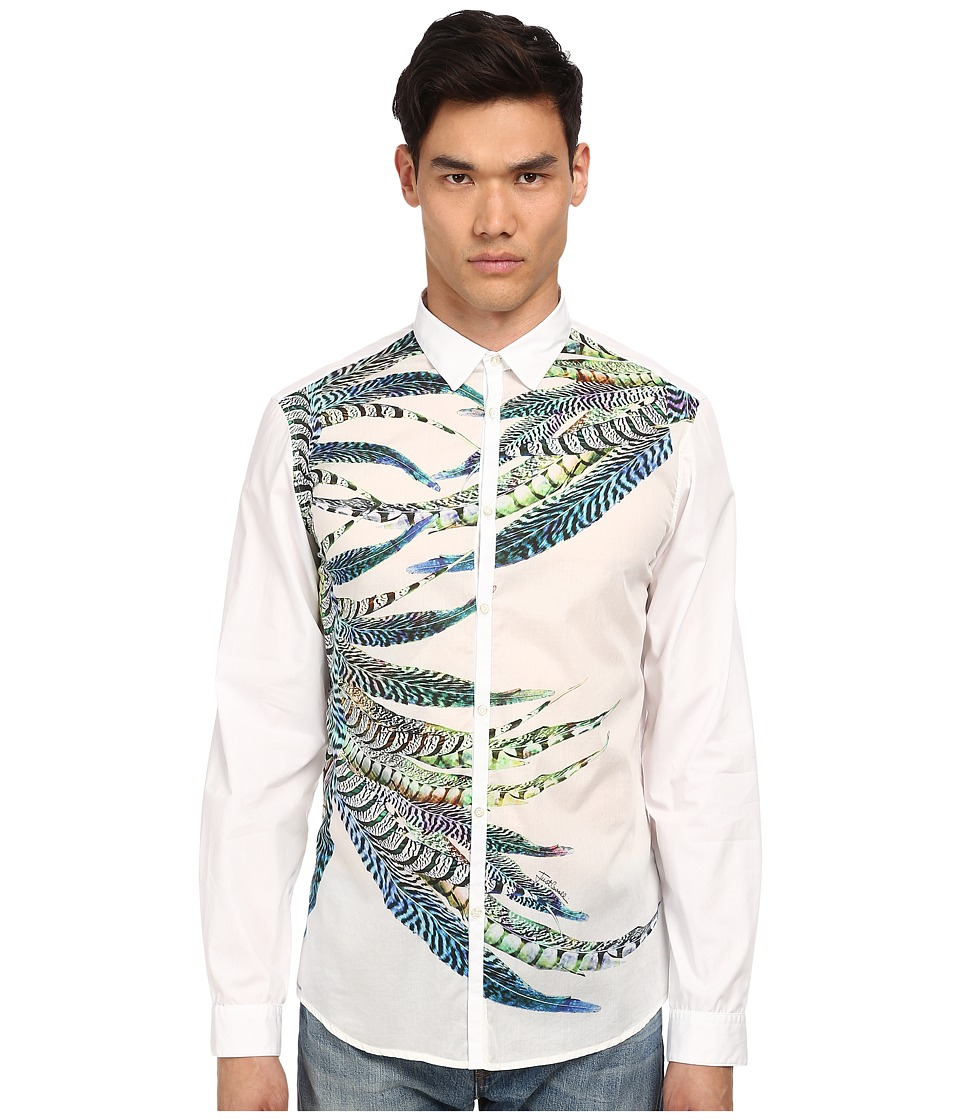 Just Cavalli - Placed Feather Print Silk Panel Front Shirt Button Up (White Variant) Men's Long Sleeve Button Up