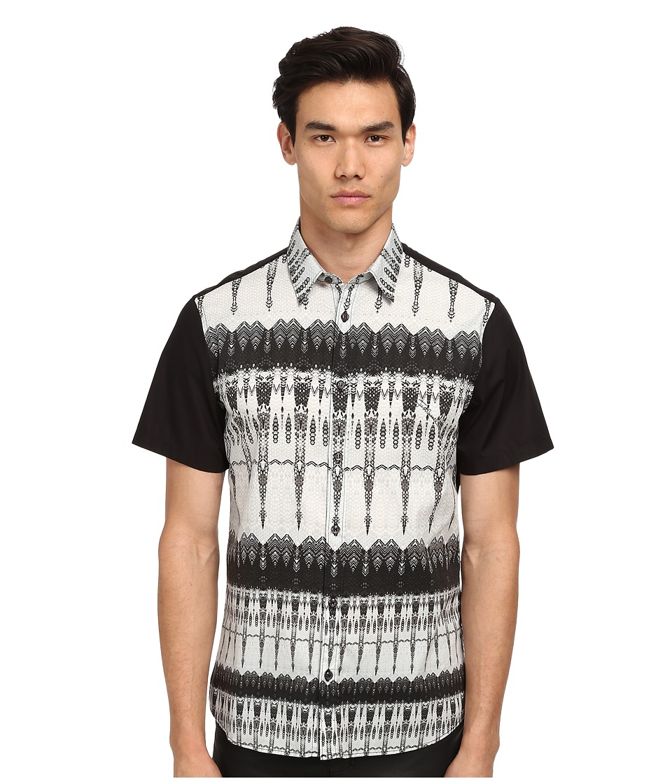 Just Cavalli - Afro Tie-Dye Print Short Sleeve Shirt Button Up (Black Variant) Men's Short Sleeve Button Up