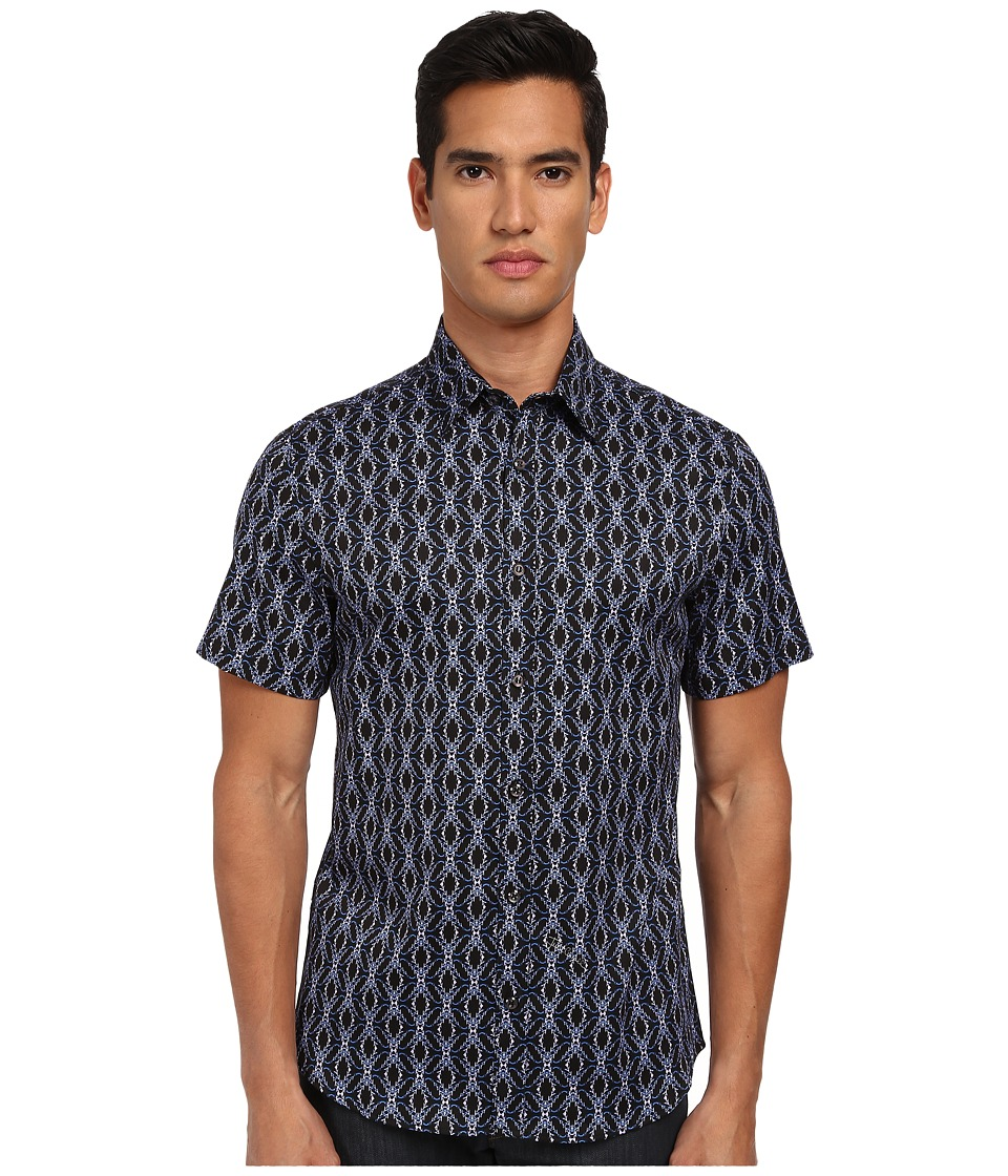 Just Cavalli - African Rhapsody Print Short Sleeve Shirt Button Up (Blue) Men