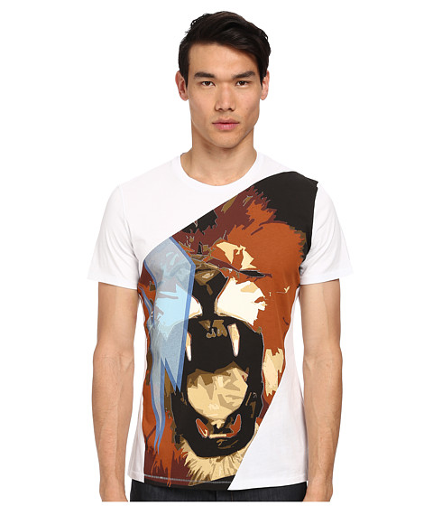 Just Cavalli - Roaring Lion Print T-Shirt (White) Men's Short Sleeve Pullover
