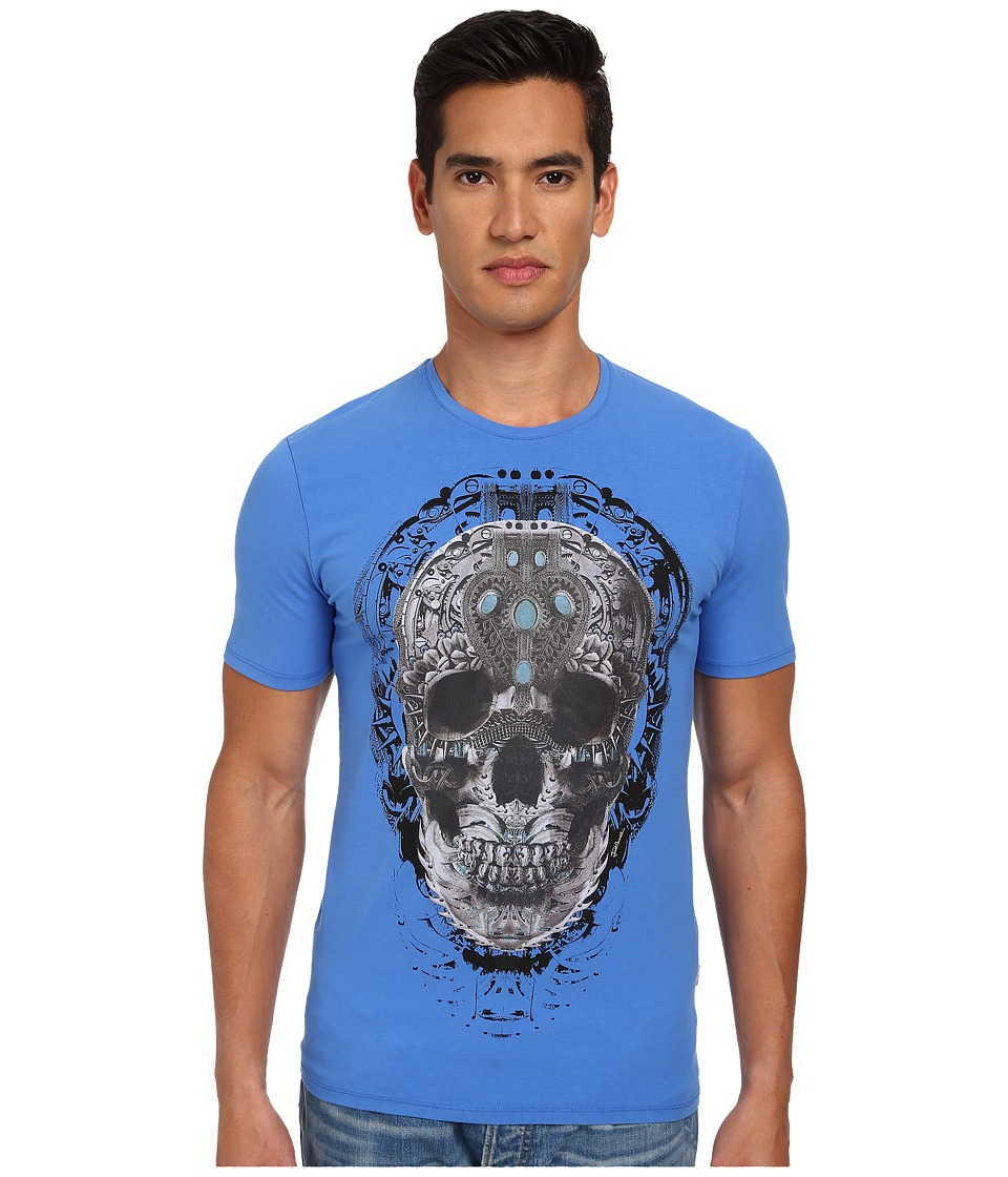 Just Cavalli - Mechanical Skull Print T-Shirt (Torquoise) Men's Short Sleeve Pullover