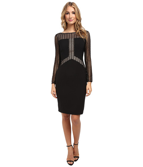 Maggy London - Crepe Long Sleeve Dress w/ Blocked Lace Detail Dress (Black/Gold) Women