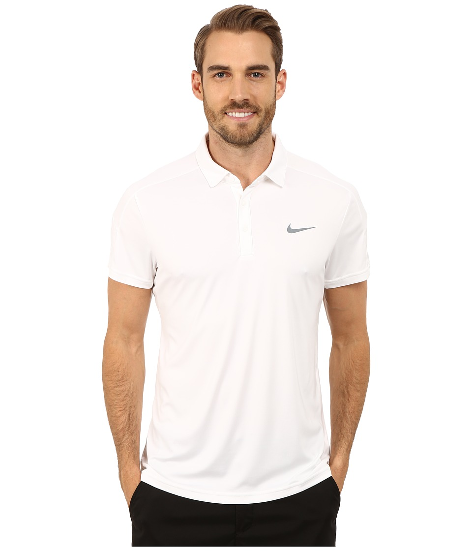 Nike - Team Court Polo (White/Cool Grey) Men's Short Sleeve Pullover