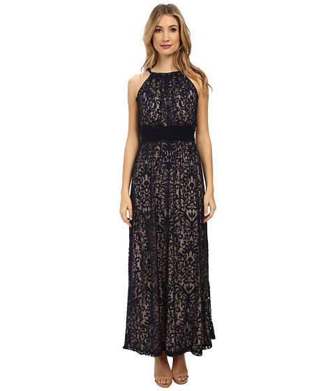 Maggy London - Pintuck Drop Waist Maxi Dress (Marine Navy) Women