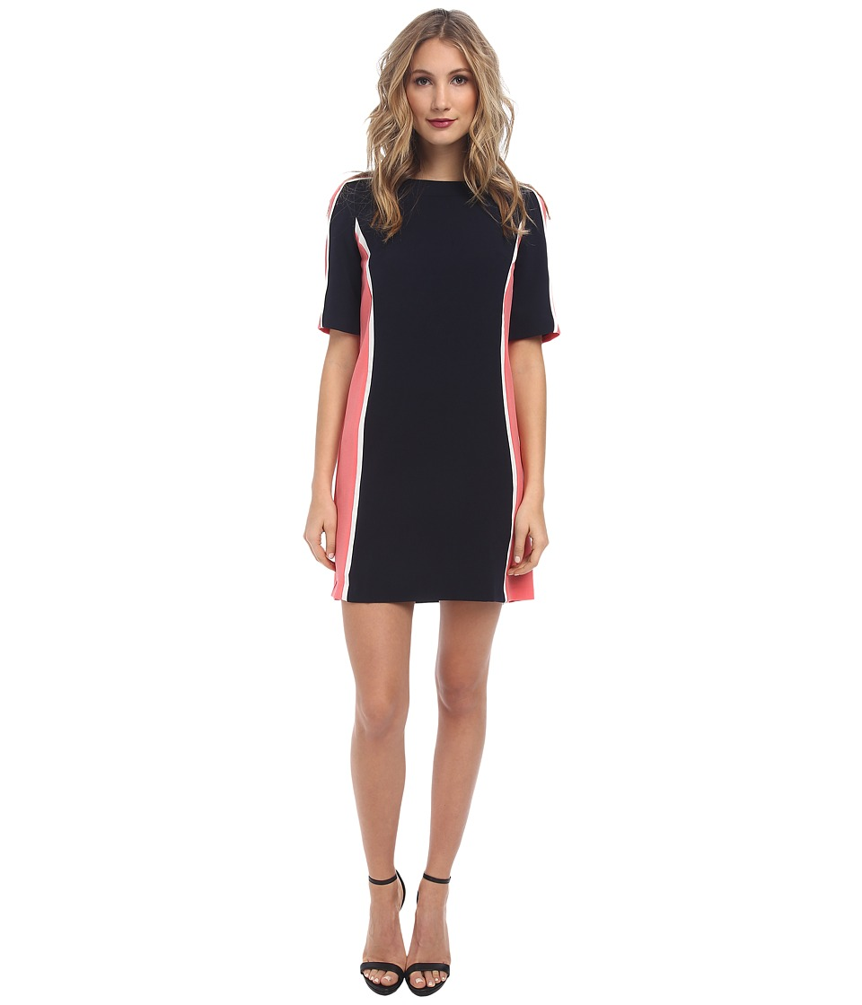 Maggy London - Color Block Crepe Shift Dress (Dark Navy/Nectar) Women's Dress