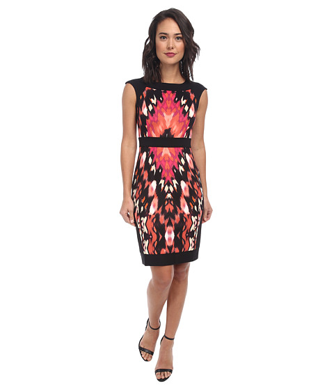 Maggy London - Ikat Shield Printed Ponte Sheath Dress (Black/Coral Reef) Women's Dress