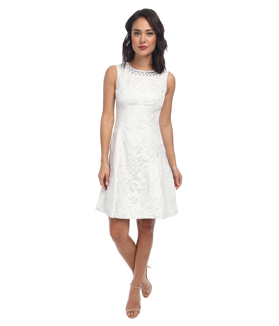 Maggy London - Novelty Metallic Fit Flare Dress (Ivory/Silver) Women's Dress