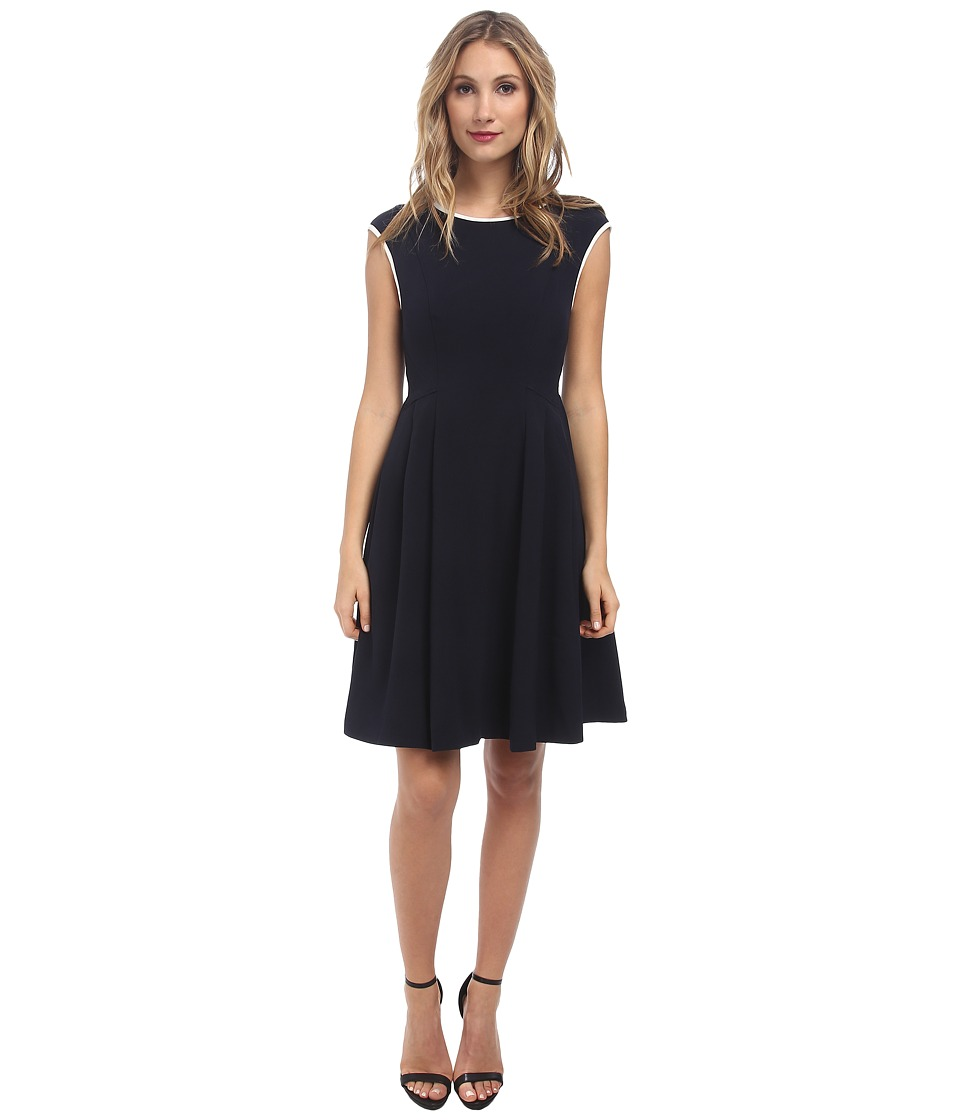 Maggy London - Crepe Fit Flare w/ Neck Piping Dress (Dark Navy) Women
