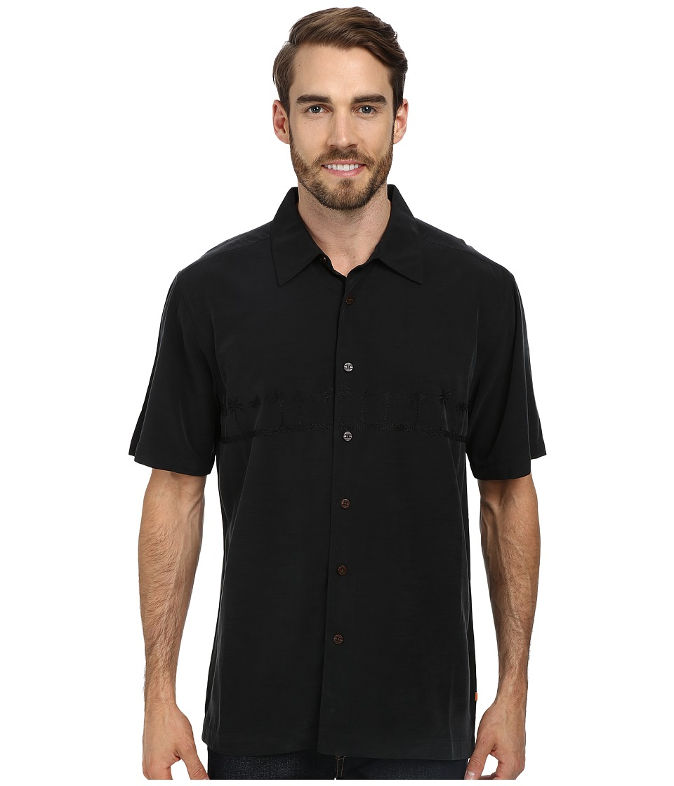 Quiksilver Waterman - Tahiti Palms 3 Woven Top (Black) Men's Short Sleeve Button Up
