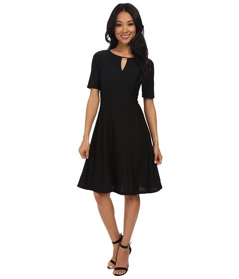 London Times - Diamond Texture Keyhole Fit and Flare Dress (Black) Women