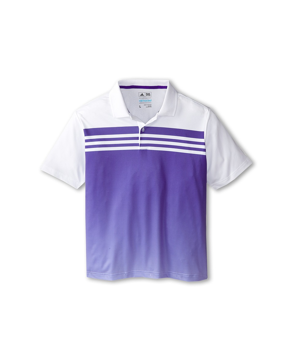 Image of adidas Golf Kids - 3 Stripes Gradient Polo (Big Kids) (White/Night Flash) Boy's Short Sleeve Pullover