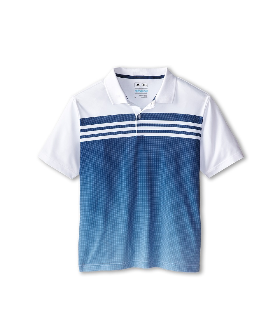 Image of adidas Golf Kids - 3 Stripes Gradient Polo (Big Kids) (White/Night Marine) Boy's Short Sleeve Pullover