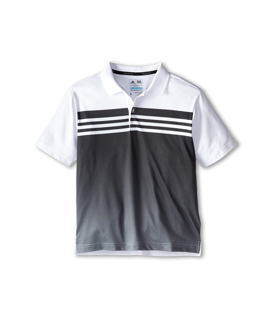Image of adidas Golf Kids - 3 Stripes Gradient Polo (Big Kids) (White/Black) Boy's Short Sleeve Pullover