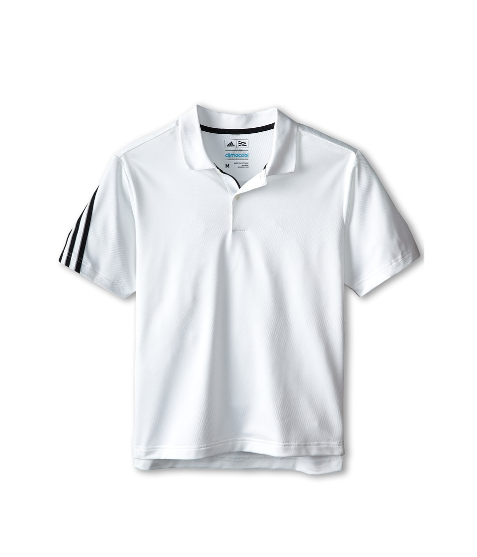 adidas Golf Kids - 3 Stripe Polo (Big Kids) (White/Black) Boy's Short Sleeve Pullover