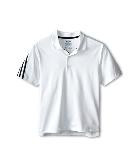 adidas Golf Kids - 3 Stripe Polo (Big Kids) (White/Black) Boy