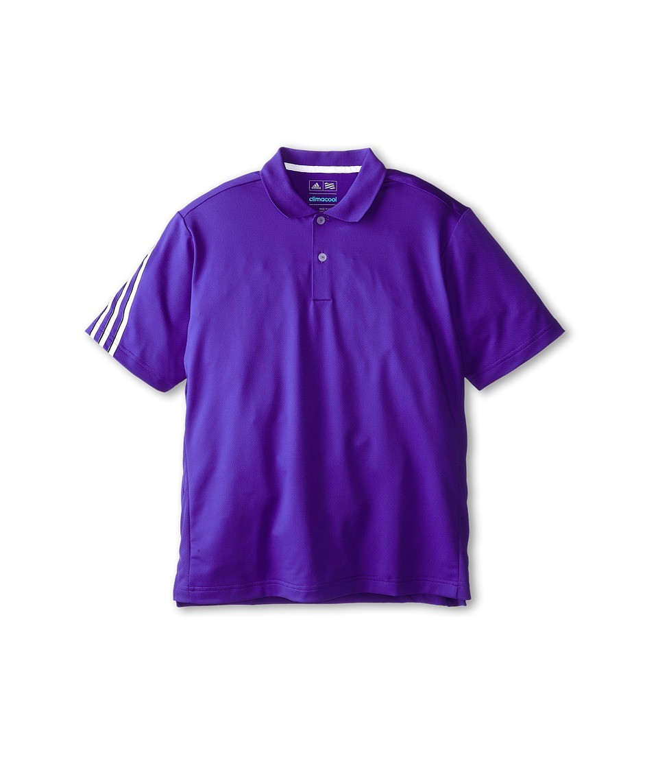 Image of adidas Golf Kids - 3 Stripe Polo (Big Kids) (Night Flash/White) Boy's Short Sleeve Pullover