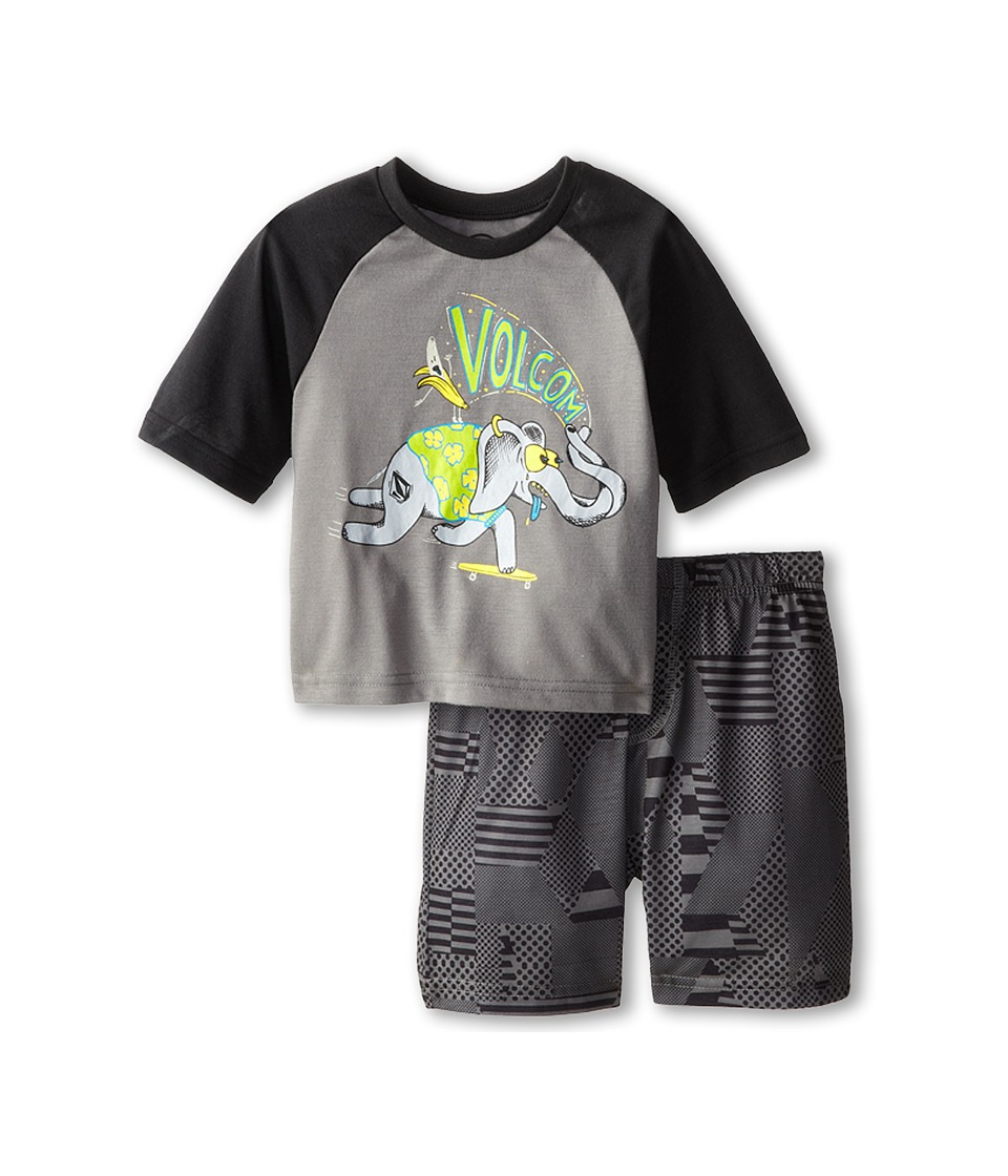 Volcom Kids - Checked Out PJ Set (Toddler/Little Kids) (Dark Grey) Boy's Pajama Sets