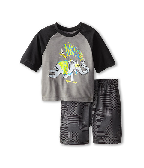 Volcom Kids - Checked Out PJ Set (Toddler/Little Kids) (Dark Grey) Boy