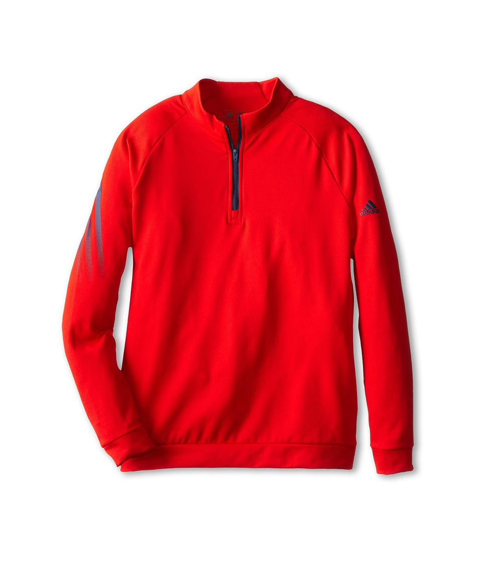 Image of adidas Golf Kids - 3 Stripe 1/2 Zip (Big Kids) (Red) Boy's Long Sleeve Pullover