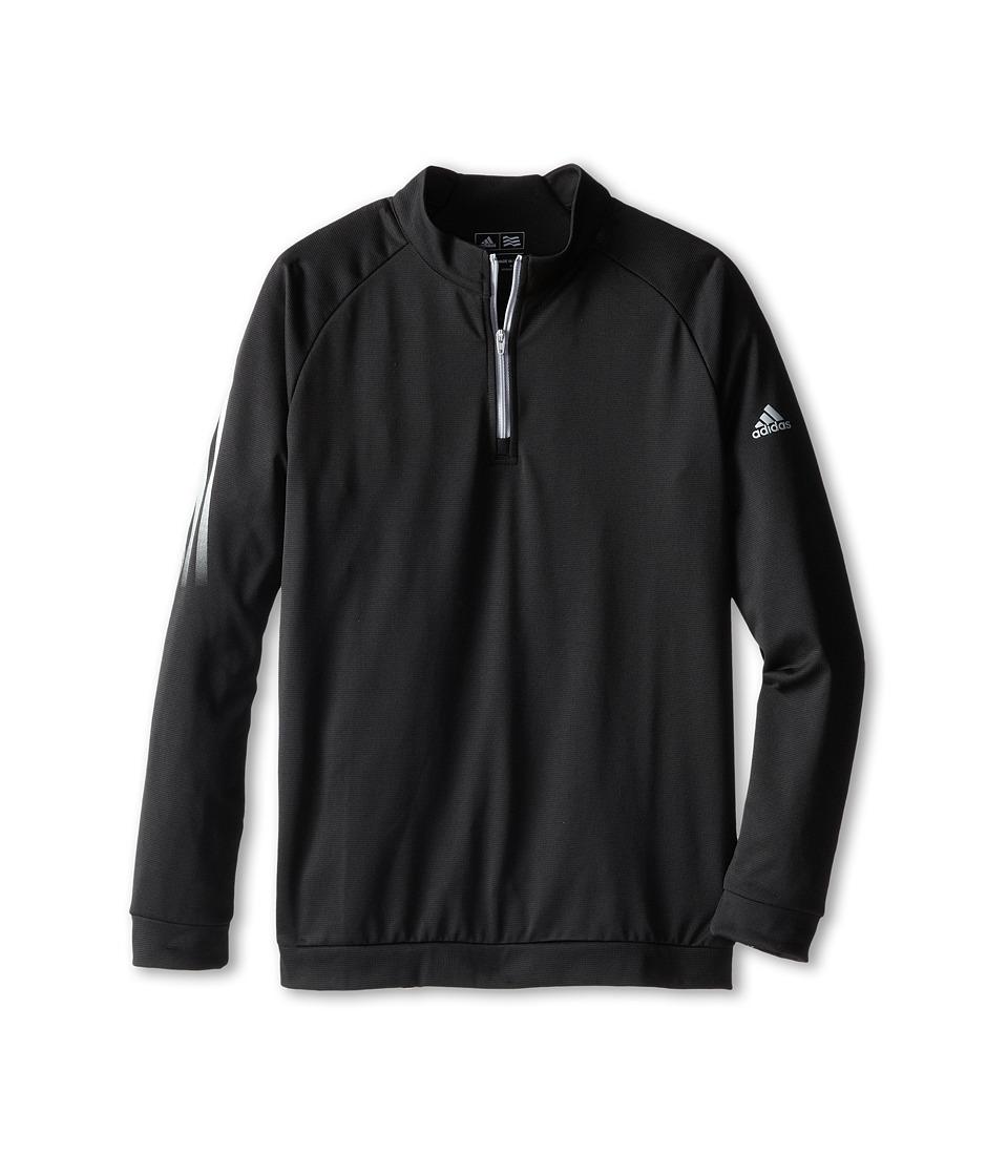 Image of adidas Golf Kids - 3 Stripe 1/2 Zip (Big Kids) (Black) Boy's Long Sleeve Pullover