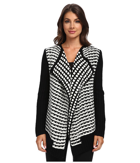 Clich Mode - Textured Cardi Solid Sleeve (Black/White) Women's Sweater