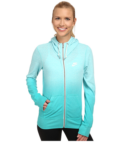 Nike - Gym Vintage Full-Zip Hoodie - Dip Dye (Light Aqua/Light Retro/White) Women's Sweatshirt