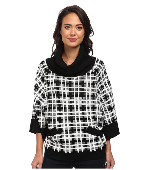 Clich Mode - Plaid Cowl (Black/White) Women's Sweater