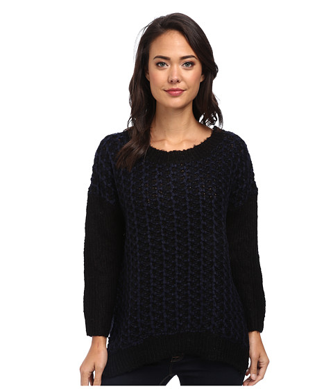 Clich Mode - Marl Chunky Handknit Sweater (Navy Combo) Women's Sweater