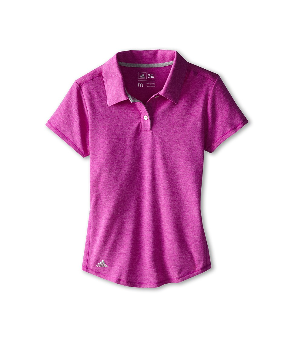 adidas Golf Kids - CLIMALITE Essentials S/S Heathered Polo (Big Kids) (Flash Pink) Girl's Short Sleeve Pullover