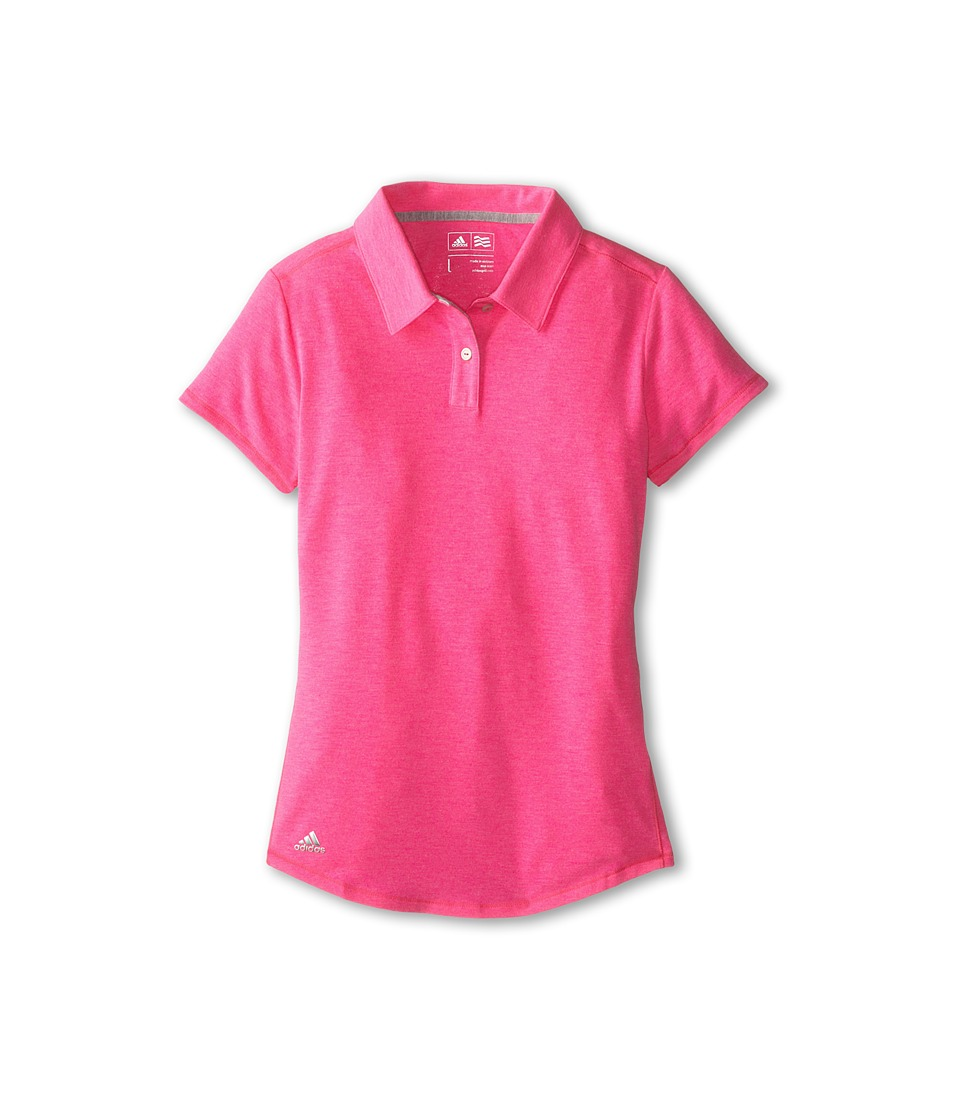 adidas Golf Kids - CLIMALITE Essentials S/S Heathered Polo (Big Kids) (Scorch Pink) Girl's Short Sleeve Pullover