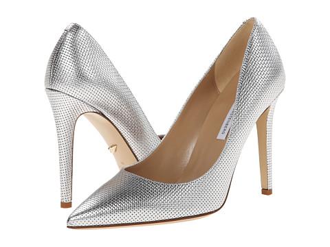 Diane von Furstenberg - Bethany (Matte Silver Metallic Grid) High Heels