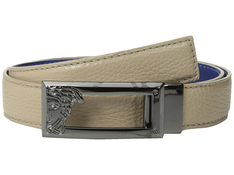 Versace Collection - Medusa Buckle 30 MM Reversible Belt (Taupe/Purple) Men's Belts