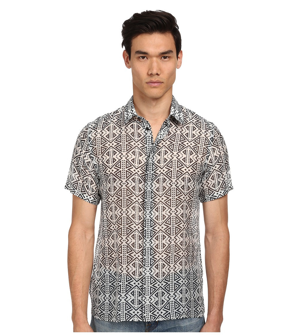 Versace Collection - Print S/S Button Up (Grey/Black) Men's Short Sleeve Button Up