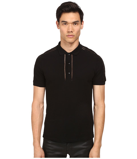 Versace Collection - Shoulder Detail Polo (Black) Men's Short Sleeve Pullover