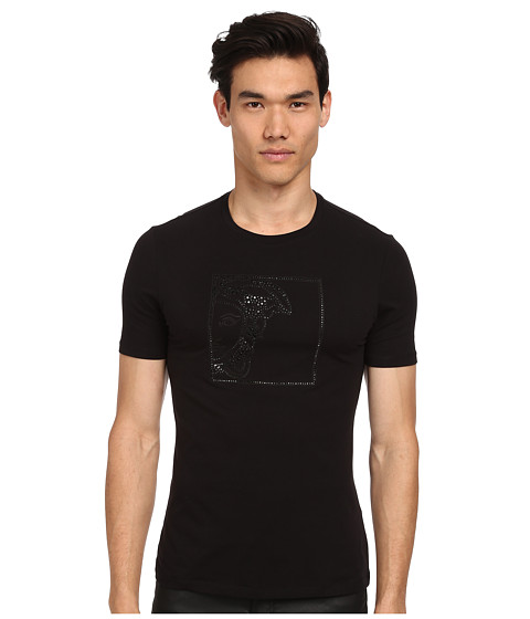 Versace Collection - Tonal Studs Medusa Tee (Black) Men