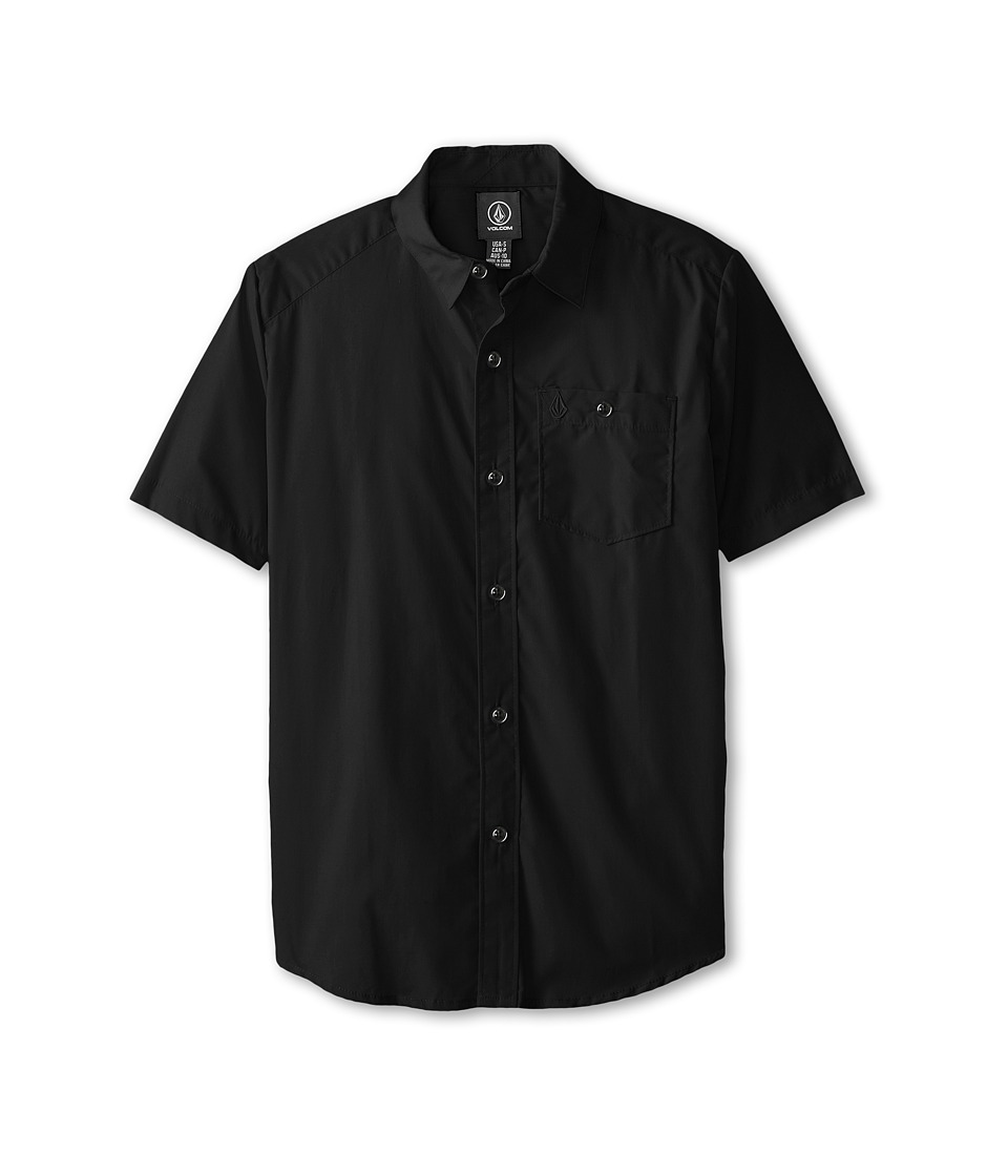 Volcom Kids - Everett Solid S/S (Little Kids/Big Kids) (Black) Boy's Short Sleeve Button Up