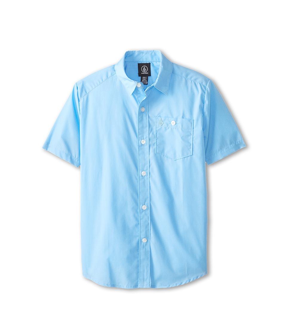 Volcom Kids - Everett Solid S/S (Little Kids/Big Kids) (False Blue) Boy's Short Sleeve Button Up