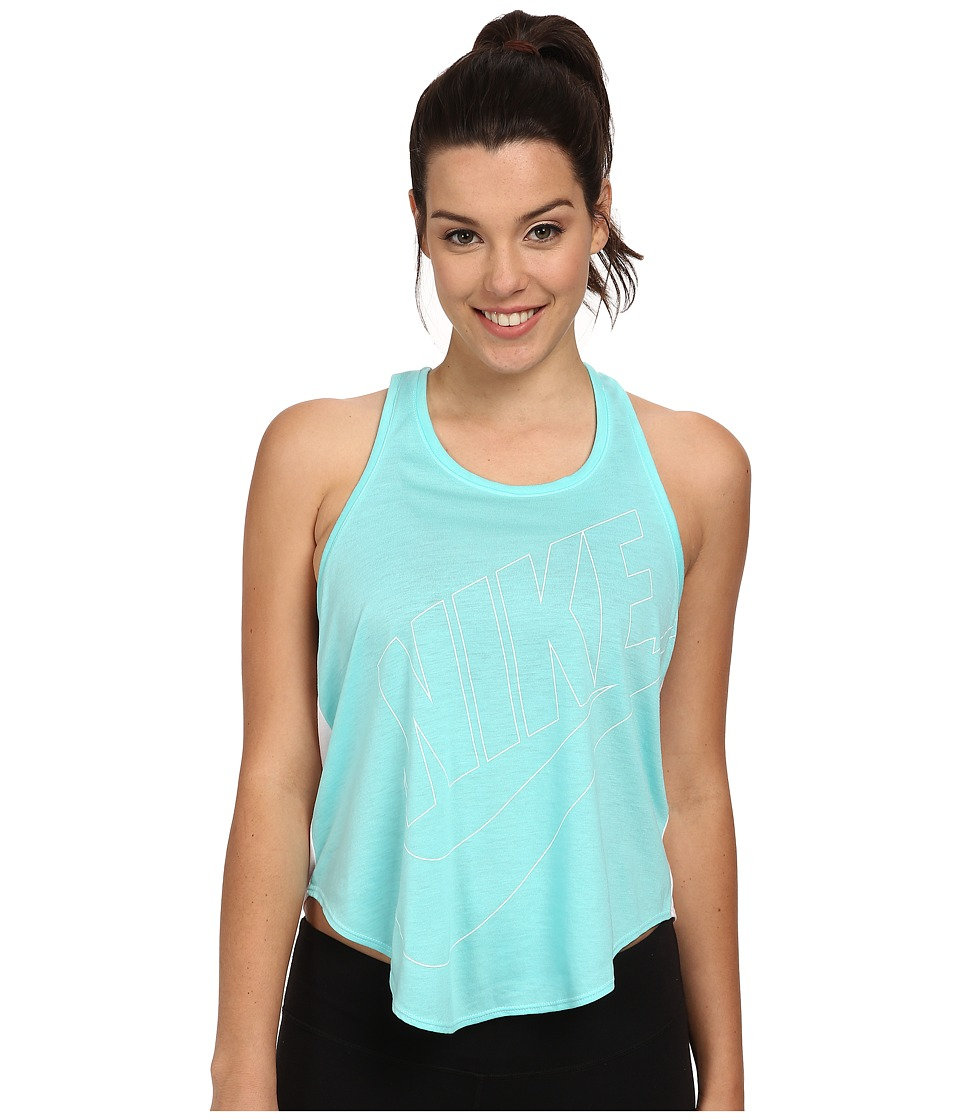 Nike - Signal Relaxed Tank (Light Aqua/White/White) Women's Sleeveless