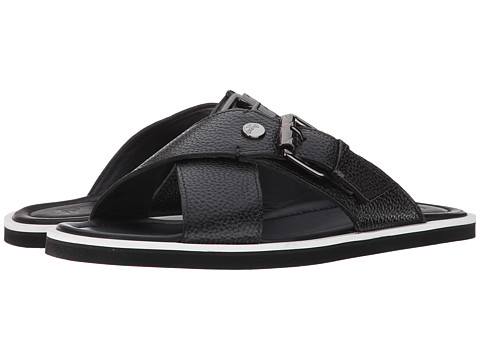 Versace Collection - Criss Cross Buckle Sandal (Black) Men
