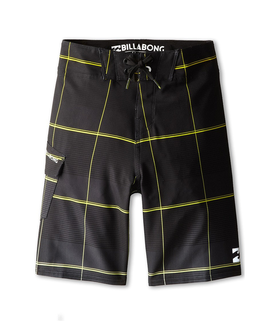 Billabong Kids - All Day X Plaid Boardshorts (Big Kids) (Black/Lime) Boy