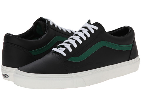 Vans - Old Skool ((Matte Leather) Black/Verdant Green) Skate Shoes