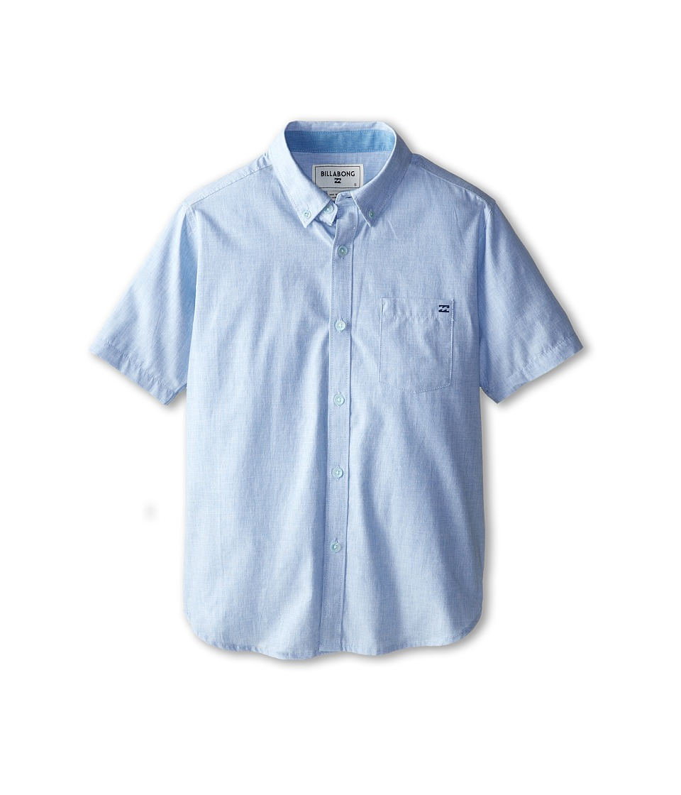 Billabong Kids - All Day S/S Woven (Big Kids) (Light Blue) Boy's Short Sleeve Button Up