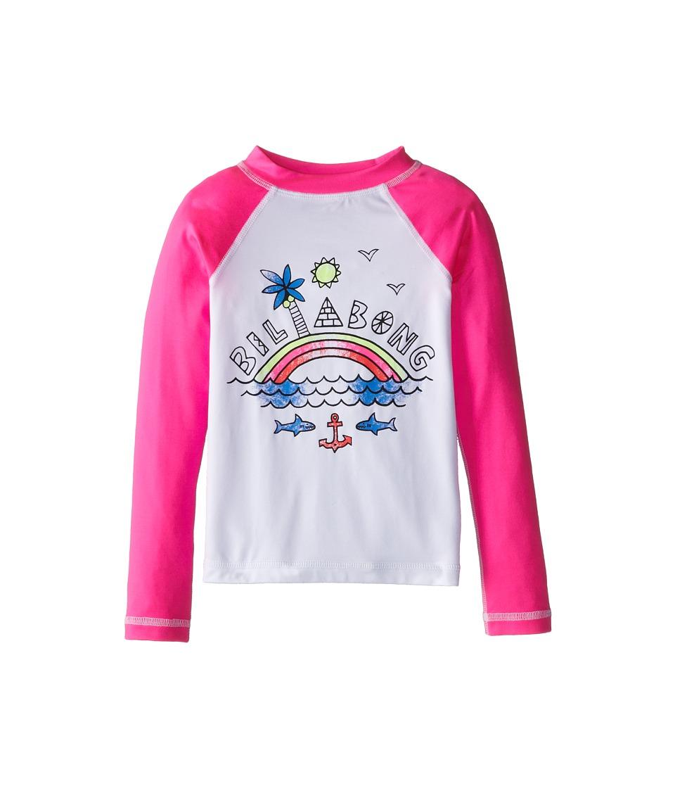 Billabong Kids - Rainbow Spot L/S Rashguard (Little Kids/Big Kids) (Pink Crush) Girl's Swimwear