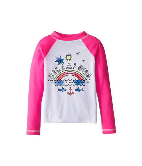Billabong Kids - Rainbow Spot L/S Rashguard (Little Kids/Big Kids) (Pink Crush) Girl's Swimwear