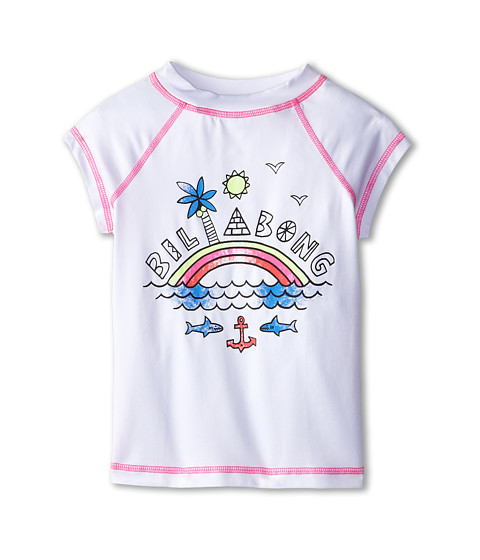 Billabong Kids - Rainbow Spot S/S Rashguard (Little Kids/Big Kids) (White) Girl