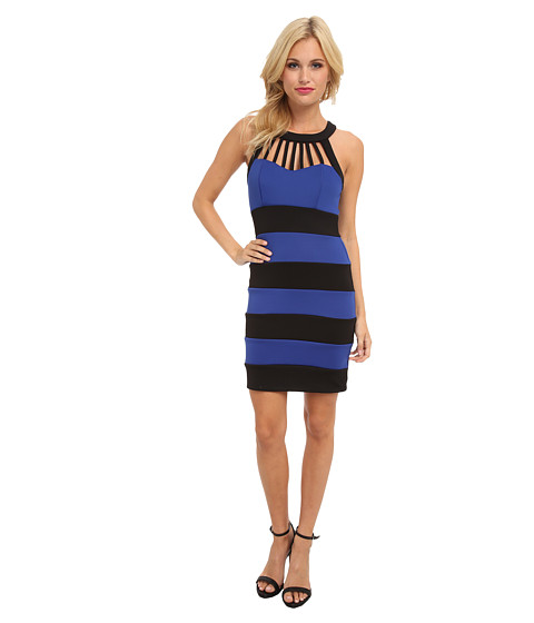 Trixxi - Color Block Scuba Dress (Black/Cobalt) Women