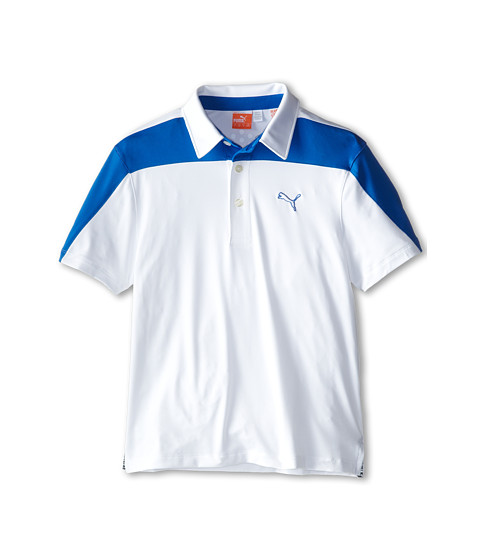 PUMA Golf Kids - CB Tech Polo (Big Kids) (White/Strong Blue) Boy's Short Sleeve Knit